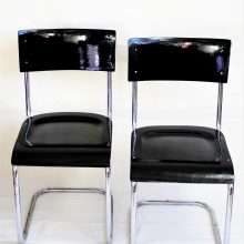 2 chromované židle bez područek