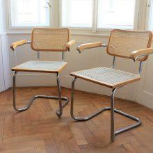 Trubkové židle s rákosovým výpletem (2ks)